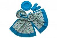 Ярко-голубой комплект из палантина, берета и перчаток