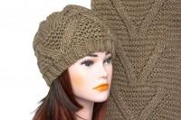 Комплект шапки и шарфа крупной вязки 5002