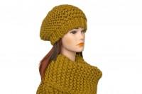 Комплект шапка и снуд горчичного цвета 5054