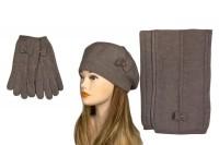 Комплект из шерсти шапка и шарф арт.017 (черный и бежевый)