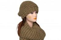 Комплект шапка и снуд коричневого цвета 5056