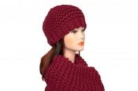 Комплект шапка и снуд бордового цвета 5058